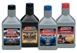 AMSOIL synthetic motorcycle oil 20W-50, 10W-40, 10W-30, SAE 60